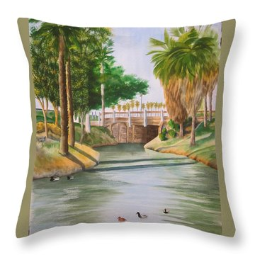 Throw Pillow featuring the painting Bubbling Springs Park by Teresa Beyer