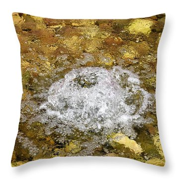 Throw Pillow featuring the photograph Bubbling Water In Rock Fountain by James Fannin