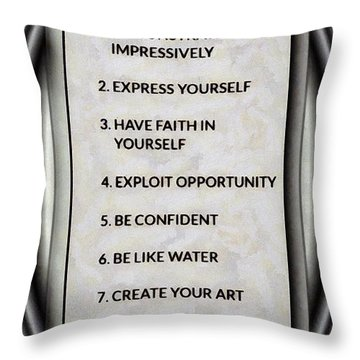 Buce Lee 10 Rules Of Success Throw Pillow