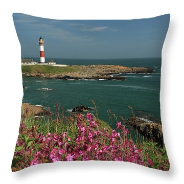 Buchan Ness Lighthouse And Spring Flowers Throw Pillow