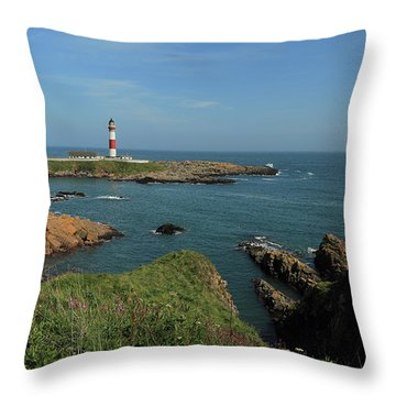 Buchan Ness Lighthouse And The North Sea Throw Pillow