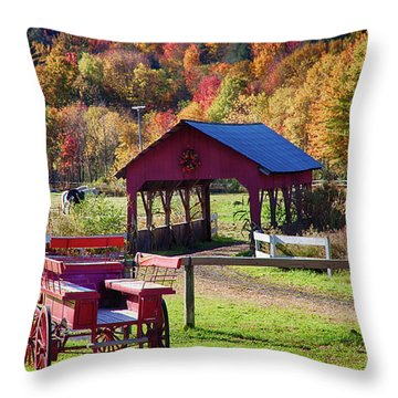 Throw Pillow featuring the photograph Buck Board Ready For Fall Colors by Jeff Folger