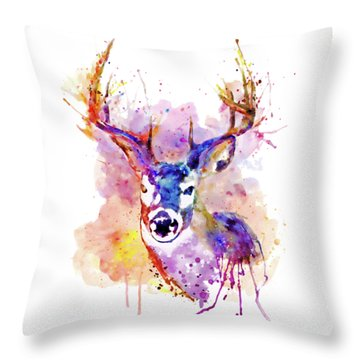 Throw Pillow featuring the mixed media Buck by Marian Voicu