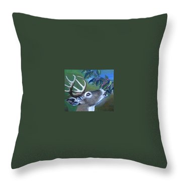 Throw Pillow featuring the painting Buck by Mary Ellen Frazee