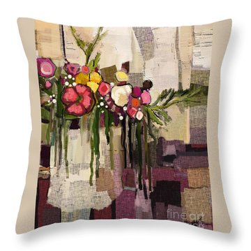 Throw Pillow featuring the painting Bucket Of Flowers by Carrie Joy Byrnes