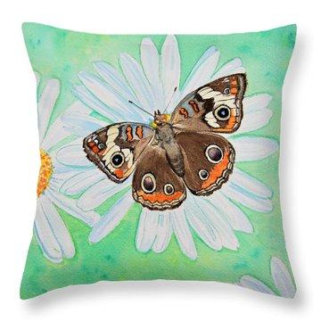 Buckeye On Oxeye Throw Pillow