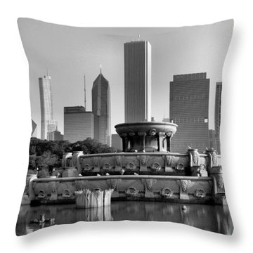 Buckingham Fountain - 2 Throw Pillow by Ely Arsha
