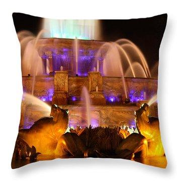 Buckingham Fountain At Night Throw Pillow