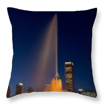 Buckingham Fountain Chicago Throw Pillow by Steve Gadomski