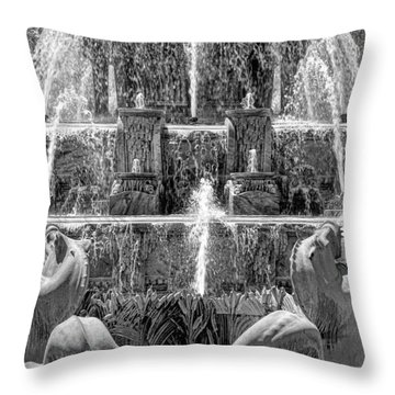 Buckingham Fountain Closeup Black And White Throw Pillow by Christopher Arndt