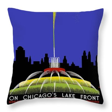 Buckingham Fountain Vintage Travel Poster Throw Pillow