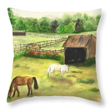 Bucks County Horse Farm Throw Pillow