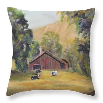 Throw Pillow featuring the painting Bucks County Pa Barn by Katalin Luczay