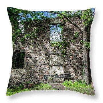 Bucks County Ruin - Bridgetown Mill House Throw Pillow by Bill Cannon