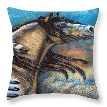 Buckskin Bell Blues Throw Pillow