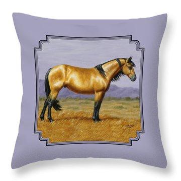 Buckskin Mustang Stallion Throw Pillow