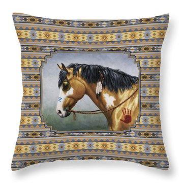 Buckskin Native American War Horse Southwest Throw Pillow