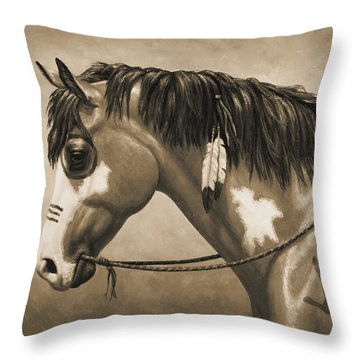 Buckskin War Horse In Sepia Throw Pillow