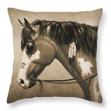 Buckskin War Horse In Sepia Throw Pillow