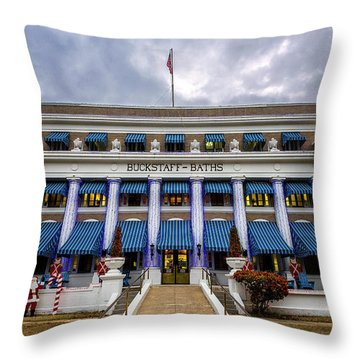 Throw Pillow featuring the photograph Buckstaff Bathhouse - Christmas by Stephen Stookey