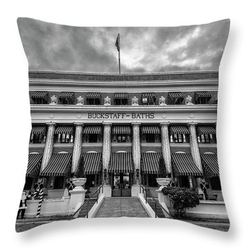 Throw Pillow featuring the photograph Buckstaff Baths - Bw by Stephen Stookey