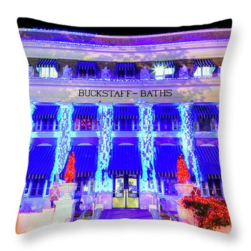 Throw Pillow featuring the photograph Buckstaff Baths - Christmastime by Stephen Stookey