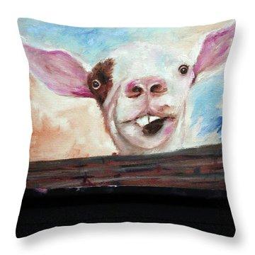 Bucktooth'd Goat Part Of Barnyard Series Throw Pillow