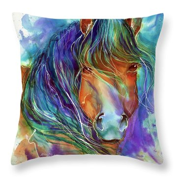 Bucky The Mustang In Watercolor Throw Pillow