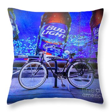 Bud Light Schwinn Bicycle Throw Pillow