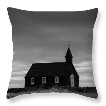 Budakirkja, The Black Church In Iceland Throw Pillow