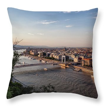 Budapest City And Danube River At Sunset Throw Pillow