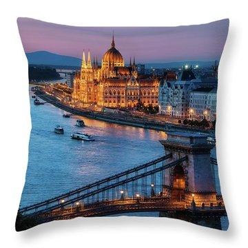 Budapest City At Dusk Throw Pillow