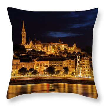 Budapest City By Night Throw Pillow