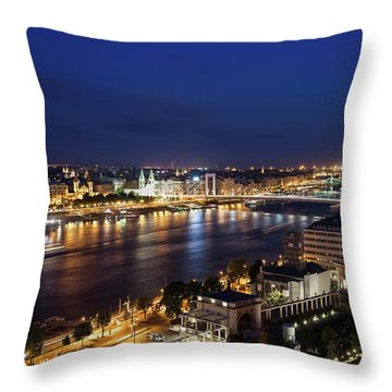 Budapest City By Night In Hungary Throw Pillow