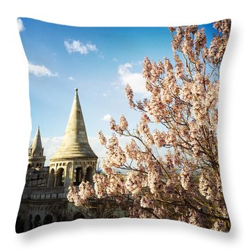 Budapest Fishermans Bastion Throw Pillow by Matthias Hauser