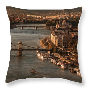 Throw Pillow featuring the photograph Budapest In The Morning Sun by Jaroslaw Blaminsky