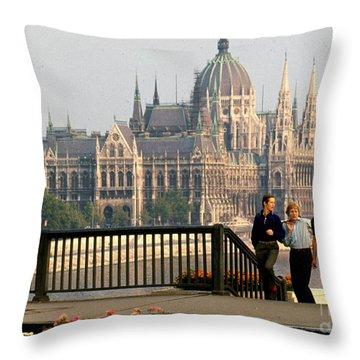 Budapest Parliamenet Throw Pillow by Erik Falkensteen