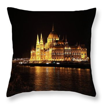 Throw Pillow featuring the digital art Budapest - Parliament by Pat Speirs