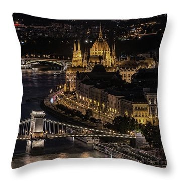 Throw Pillow featuring the photograph Budapest View At Night by Jaroslaw Blaminsky