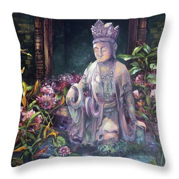 Budda Statue And Pond Throw Pillow