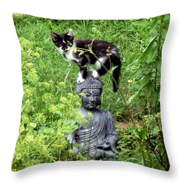 Buddha And Friend Throw Pillow by Cynthia Lassiter