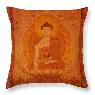 Buddha Antique Tapestry Throw Pillow