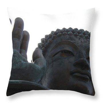 Buddha At Ngong Ping Village, Hong Kong Throw Pillow by Jennifer Mazzucco