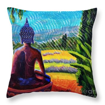 Buddha Atop The Lavender Farm Throw Pillow