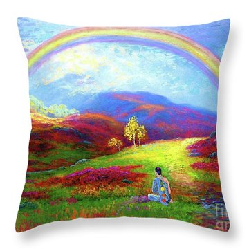 Buddha Chakra Rainbow Meditation Throw Pillow