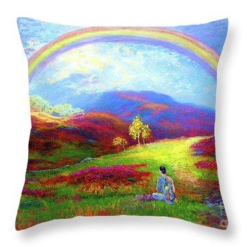 Buddha Chakra Rainbow Meditation Throw Pillow by Jane Small