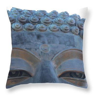 Buddha Eyes, Ngong Ping Village, Hong Kong Throw Pillow by Jennifer Mazzucco