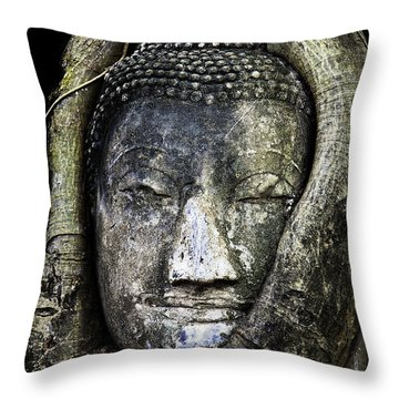 Throw Pillow featuring the photograph Buddha Head In Banyan Tree by Adrian Evans