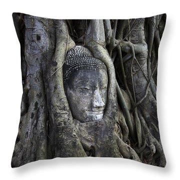 Buddha Head In Tree Throw Pillow