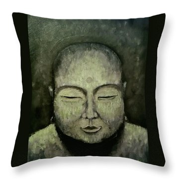 Buddha In Green Throw Pillow